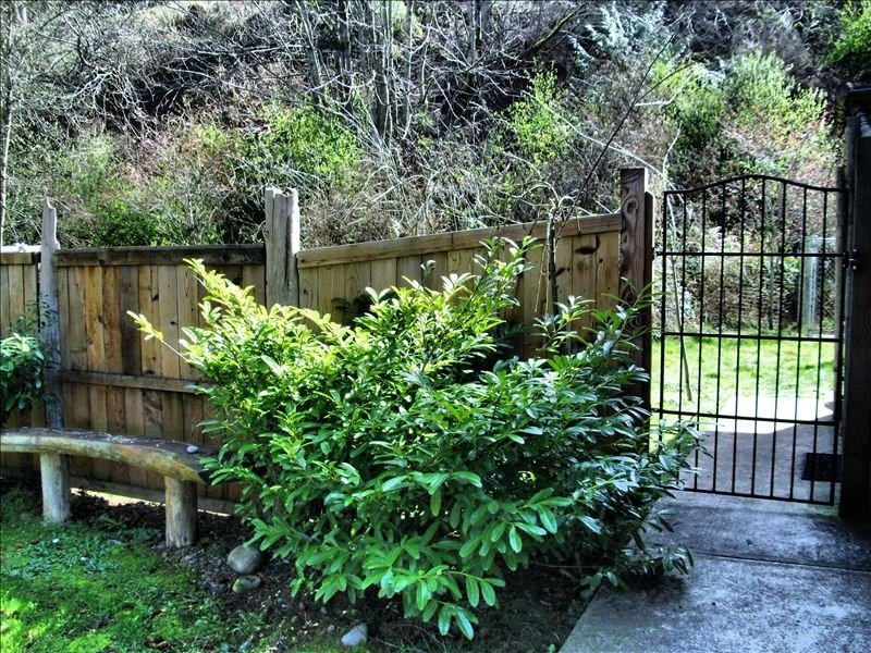 Lush entrance with homegrown cedar fence and wrought iron gate welcomes you.