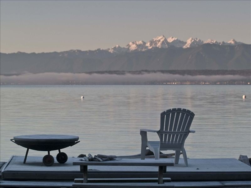 Beautiful view of shipping lanes and Olympic Mountains