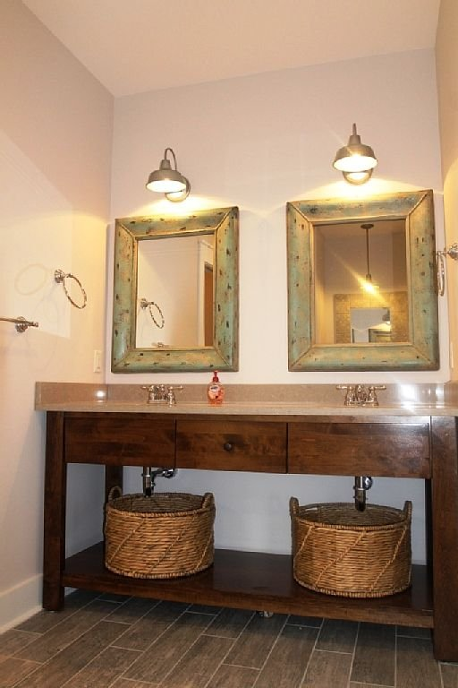 Located on 1st floor, master bathroom with double sinks and beautiful tile showe