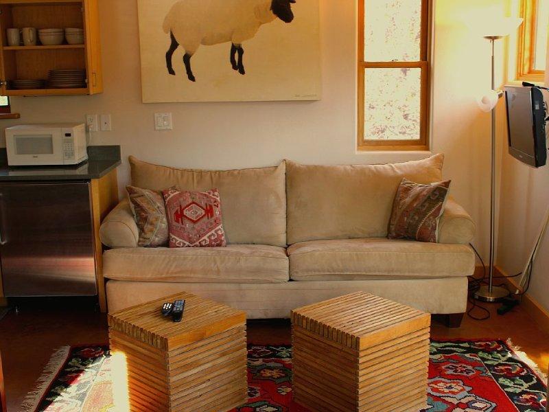 Hide-away sofa in living area