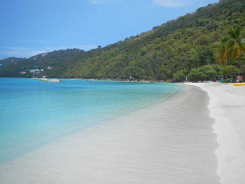 Nearby pristine Magens Bay beach, a short five minute drive