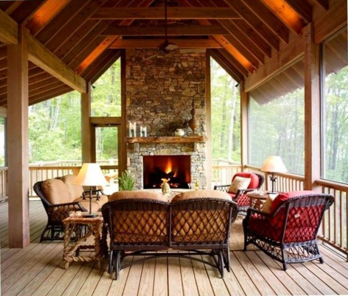 The Screened Living Room/Porch Provides the Ultimate Mountain Experience.