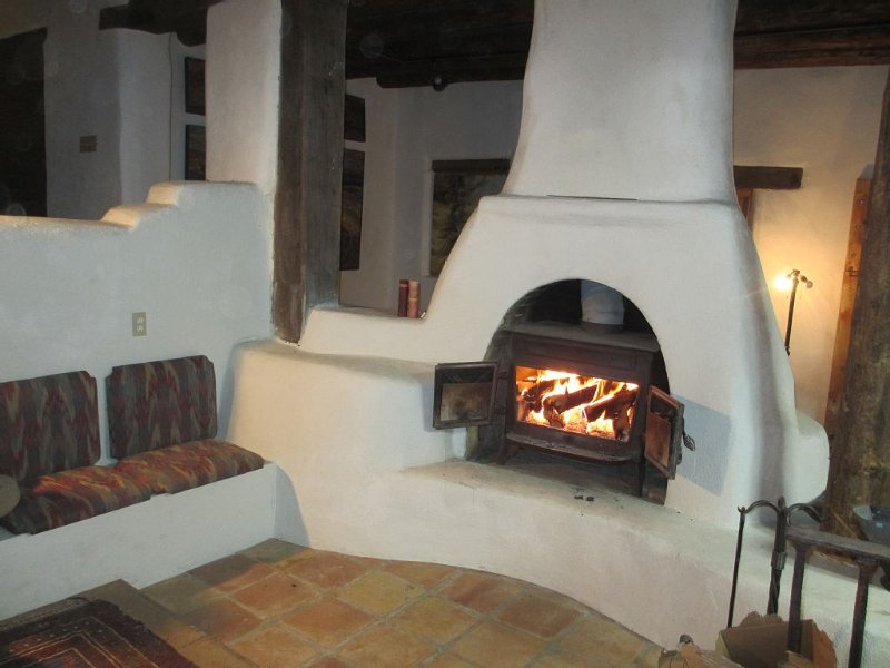 Fire Burning In Main Gallery -- the Stove Insert Provides Fire View and Heat