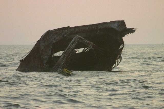 What Remains of the SS Atlantis 'the Concrete Ship' at Sunset Beach.