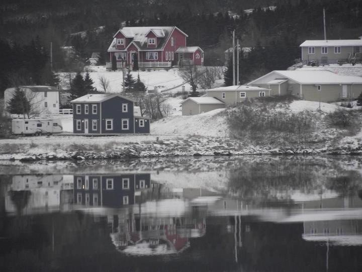 Winter Scene of our house and the harbour