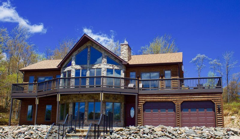 Our scenic home faces Emerald Lakes, with large picture windows, elevated deck