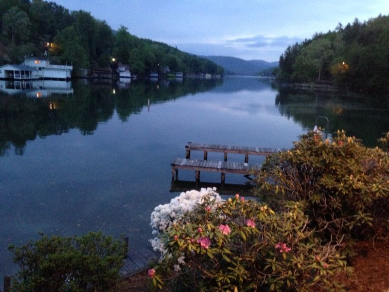 Evening view from a restaurant on Lake Lure, just up the road