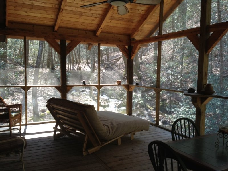 Amazing sleeping porch and dining porch.  The BEST sleeping creekfront