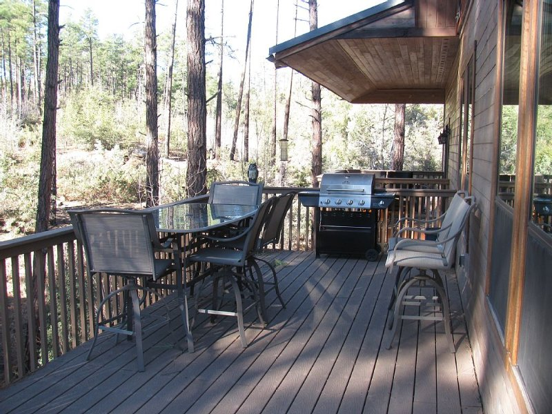 Back deck and master bedroom deck in view