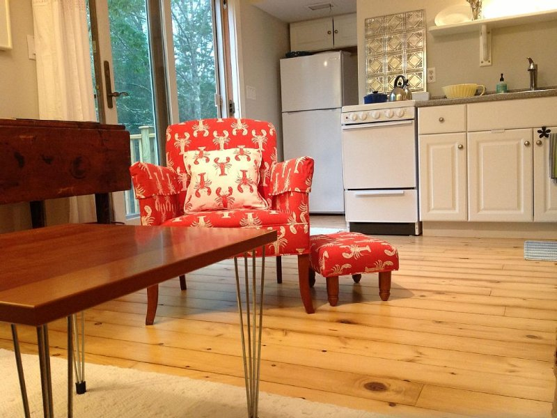 Antique chair with a modern and whimsical upholstery!