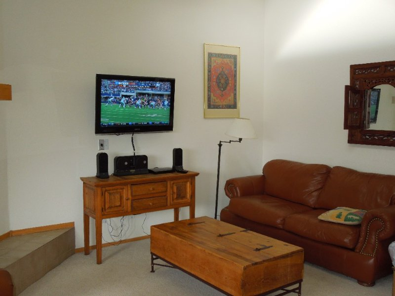 New flat screen tv in the spacious family room.