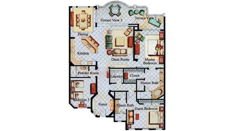 Floor plan is perfect for 3 couples or a family. Bdrm 3 has king or 2 twin beds