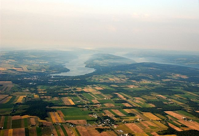 Aerial photo of Keuka Lake from North: Y-shaped, 50 miles of shoreline