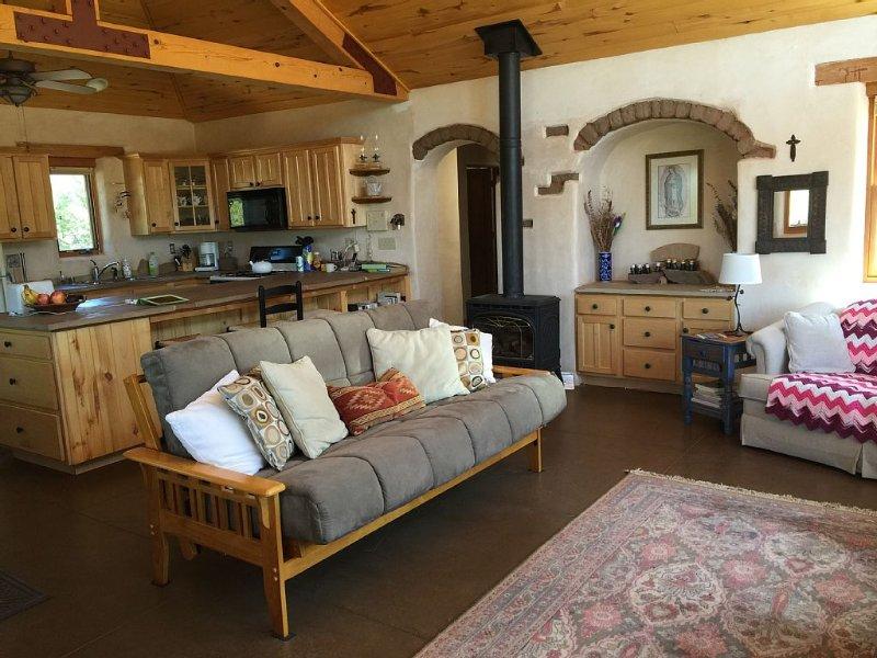 Grande chambre, cuisine, salle à manger, plafond cathédrale - beaucoup d'espace encore efficace.