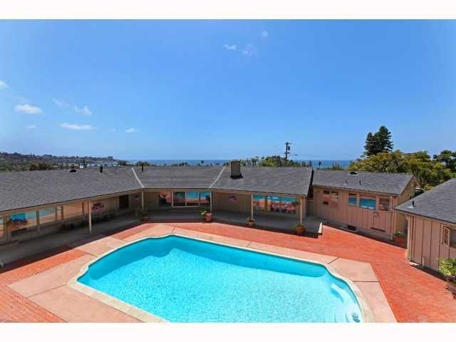 Birdseye view of pool/house overlooking ocean.