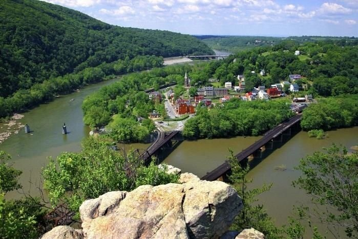 View from Maryland heights overlooking Harpers Ferry.