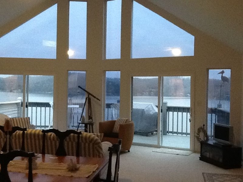 Home is light, bright & open with soaring ceilings! New home- cloudy day