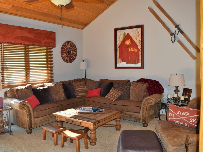 spacious family room with comfortable seating