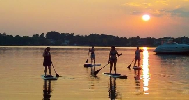 Paddle boarding on Lake Norman