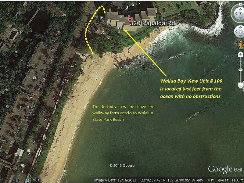Map showing location of Unit 106 in complex and also showing walkway to beach