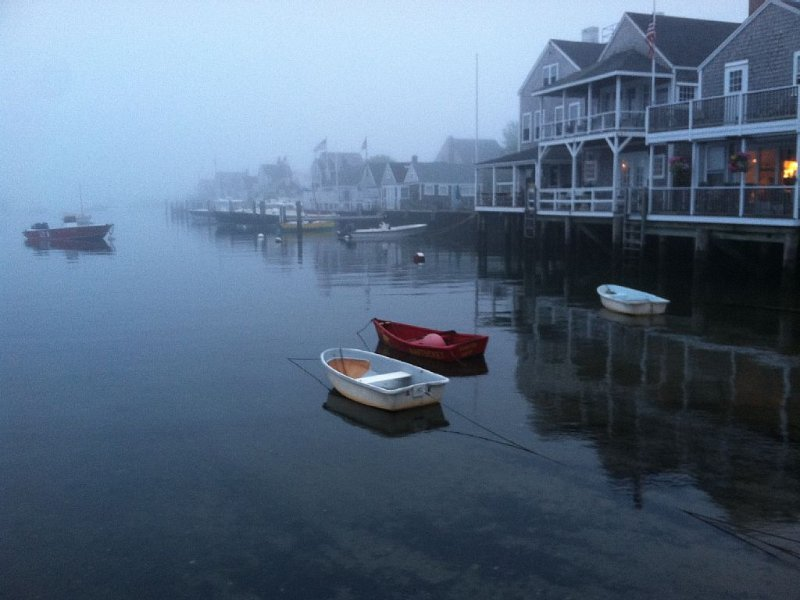Wharf Cottages in the fog.
