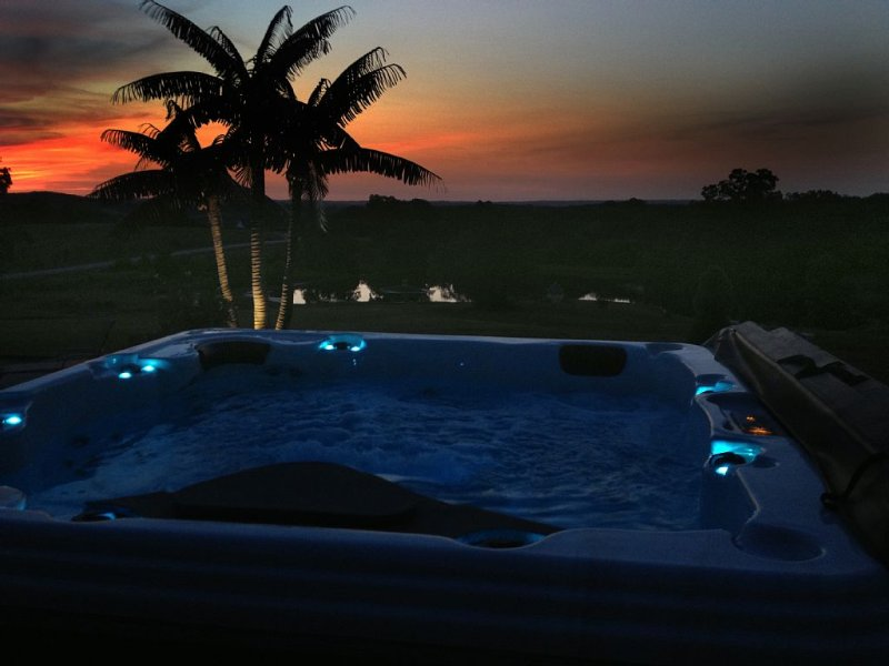 Sunset view from hot tub.