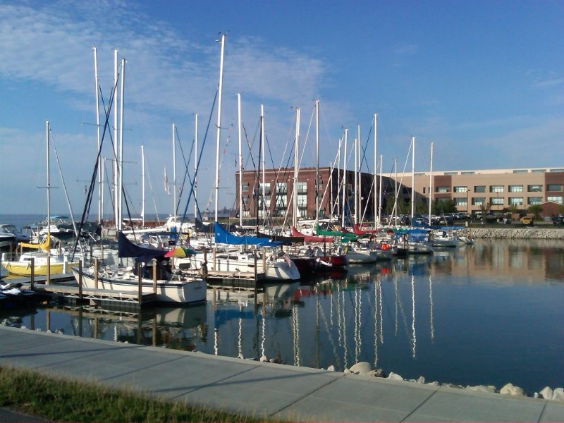 View of the Chesapeake Lofts building from new city Marina