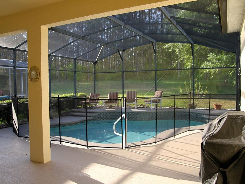 double covered lanai and pool