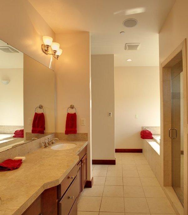 Banheiro principal com 2 pias, banheira de hidromassagem, chuveiro separado e closet.
