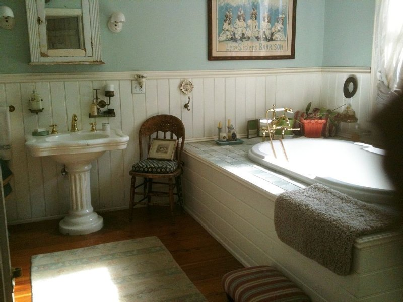 huge bathroom with jacuzzi tub for 2 & European style handheld shower