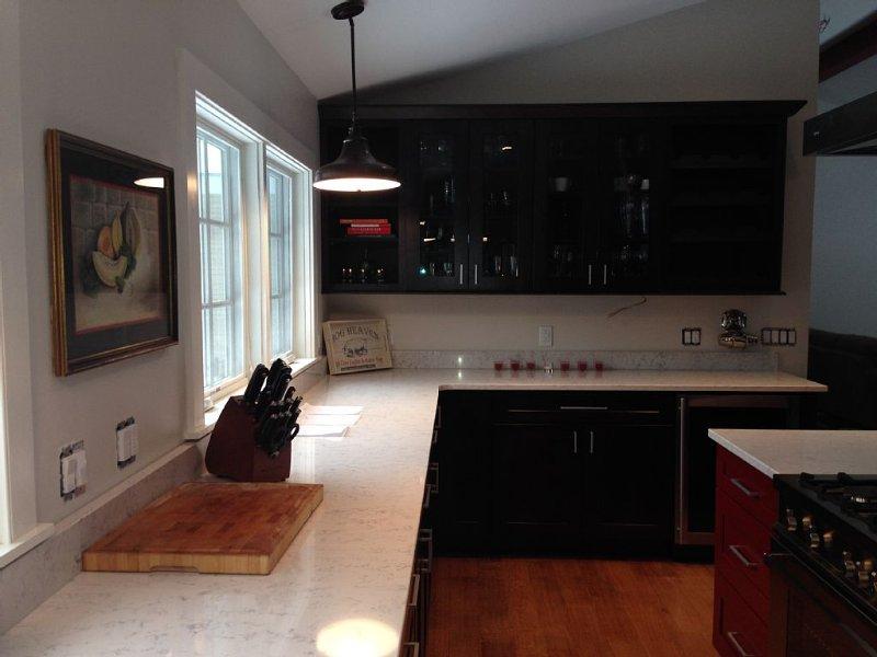 Plenty of work areas in the kitchen.