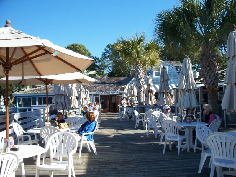 The famous Salty Dog Cafe and outdoor sitting area at South Beach Marina