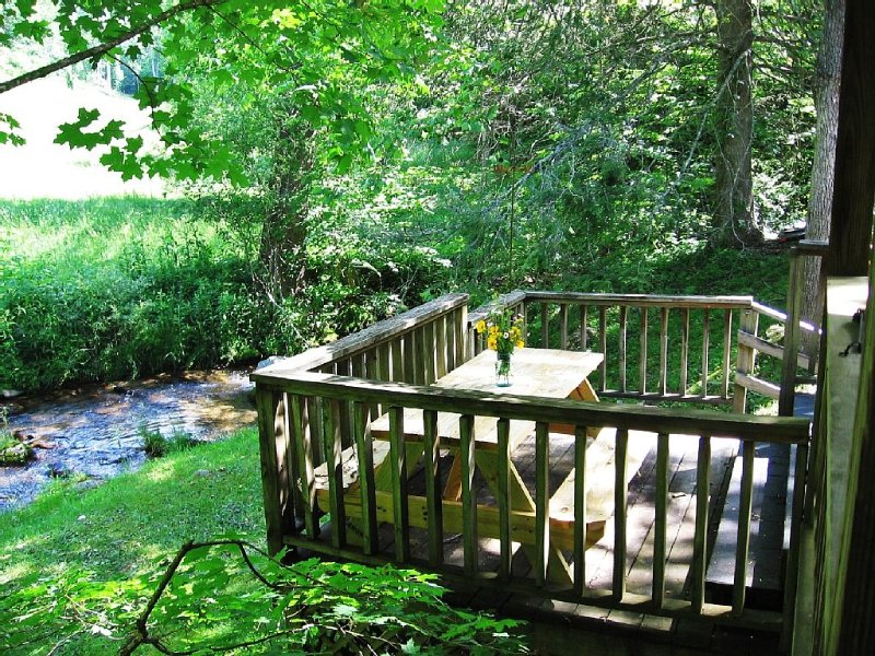 Picnic table off of covered porch overlooking the creek
