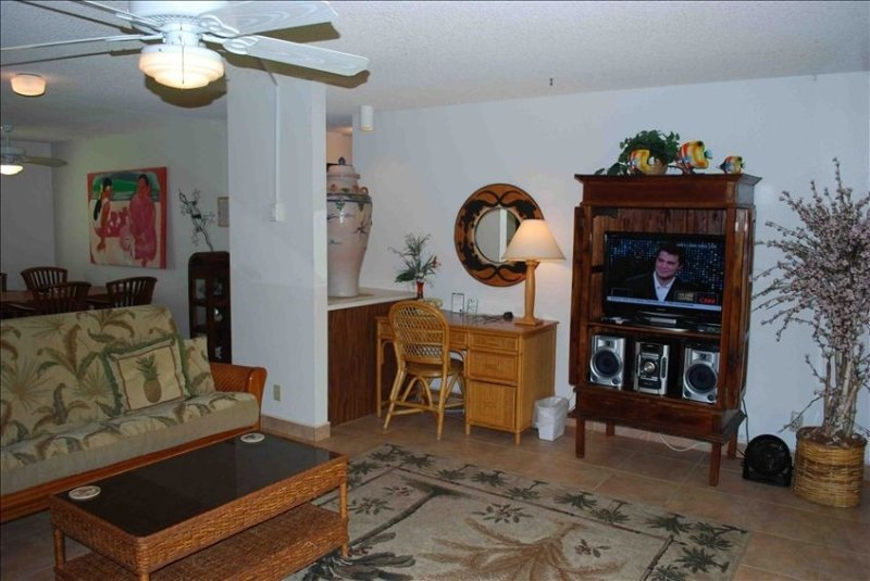 Large living room. Stereo, Flatscreen TV, DVD, internet, easy in-out. No Stairs