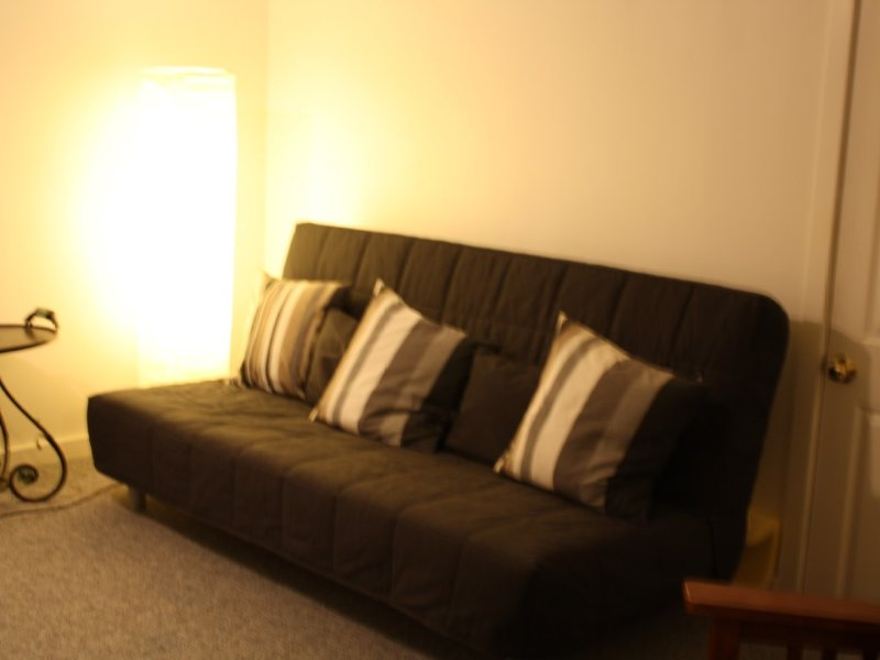 Futon-couch in basement with additional TV.