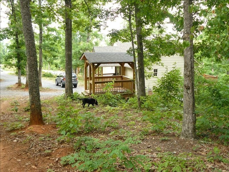Our cabin (beyond our gazebo) from the woods