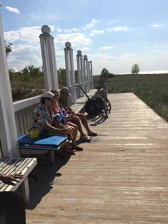 Boardwalk benches to sit on and change your shoes.