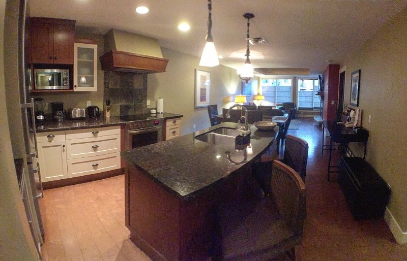 Gourmet kitchen with granite counter tops, convection oven and wine fridge