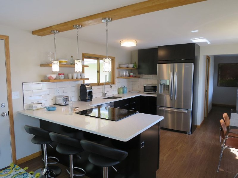Modern open kitchen with beautiful quartz counters.