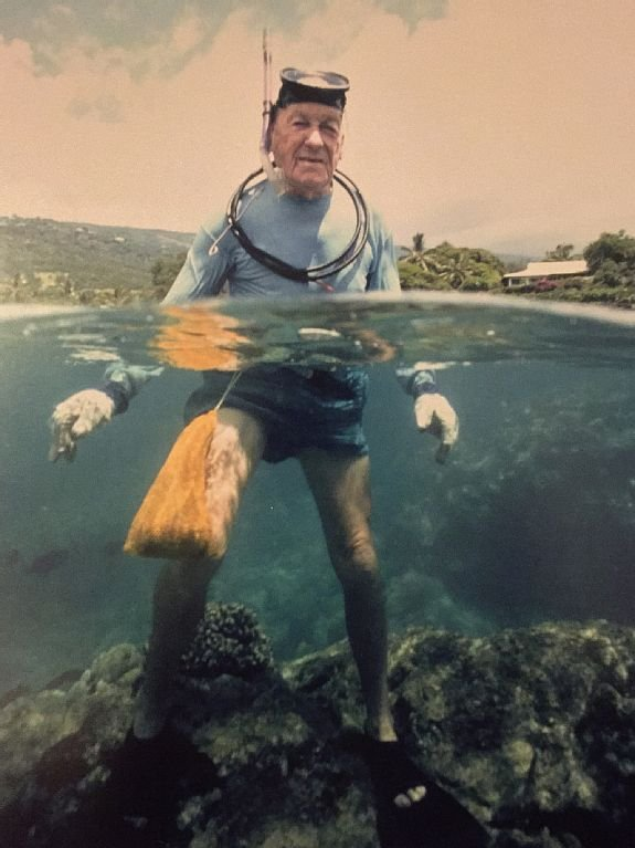 This is a Picture of Grandpa Doc Boone out in the bay doing what he loved most!