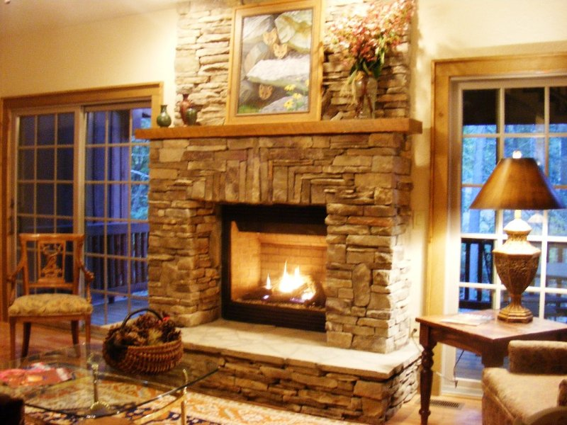 Cozy gas fireplace in our den