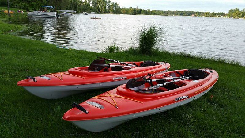 The rental is furnished with two tandem kayaks and paddles.