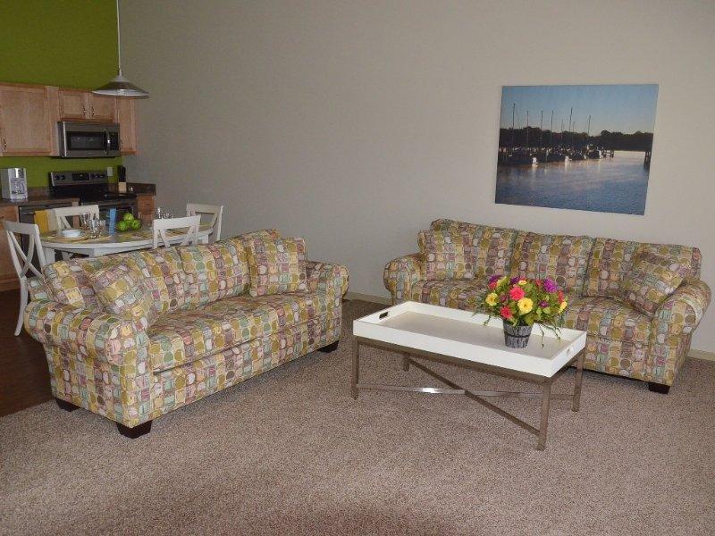 Living area with queen sleeper sofa.