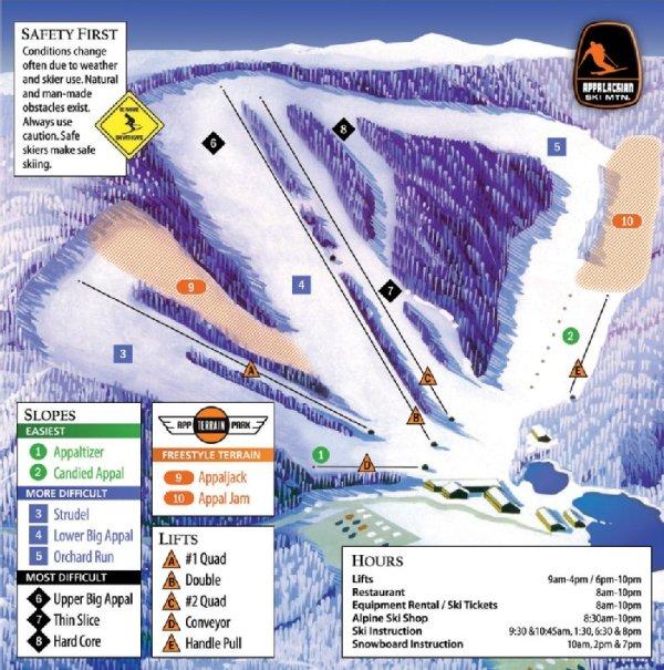 Appalachian Ski Mountain Trail Map - Walk from Bearadise and ski!