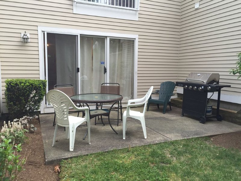 Outdoor private patio with two grills (gas and charcoal).