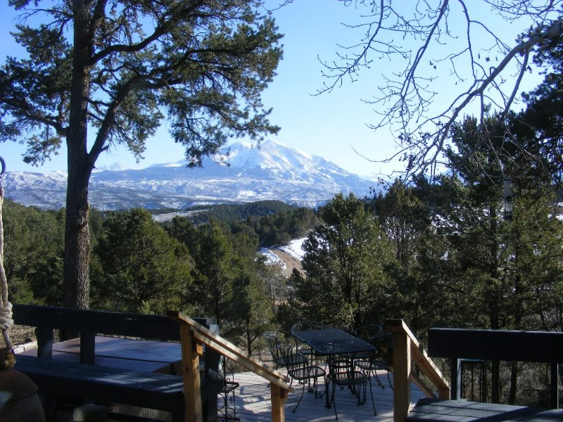 Hot Tub on the Deck with view of Mt. Sopris Summer View
