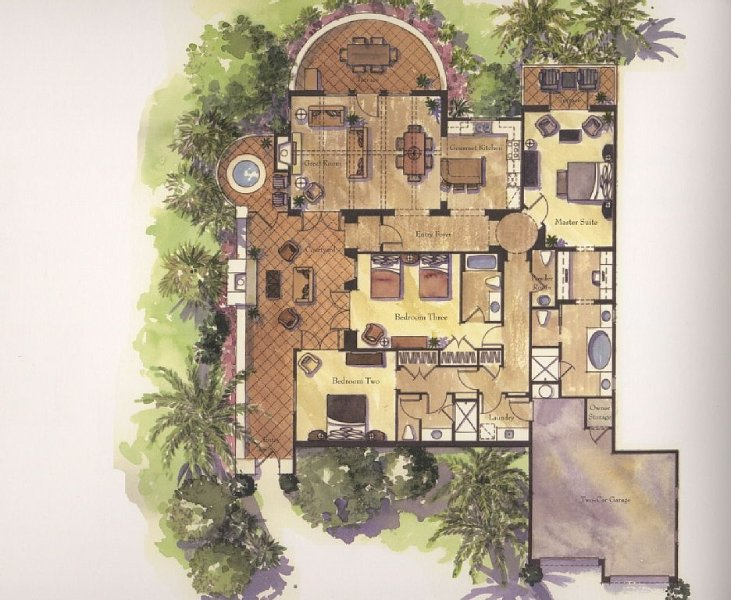 Floor plan for our Villa: 3 bedrooms/3 bath with outdoor fireplace and jacuzzi