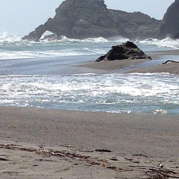 Ocean Surging Up the Navarro River at Navarro Beach at High Tide  ('Riventides')