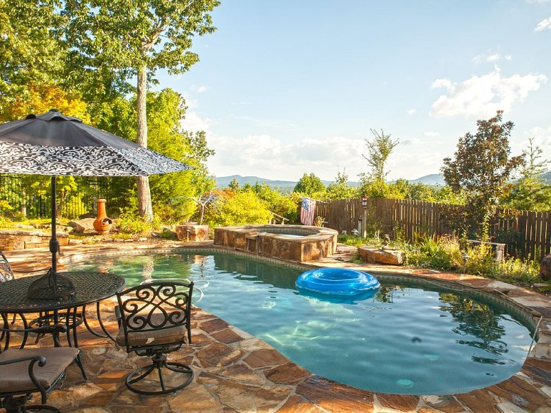 Relax by the pool and enjoy the sunset from the hot tub.