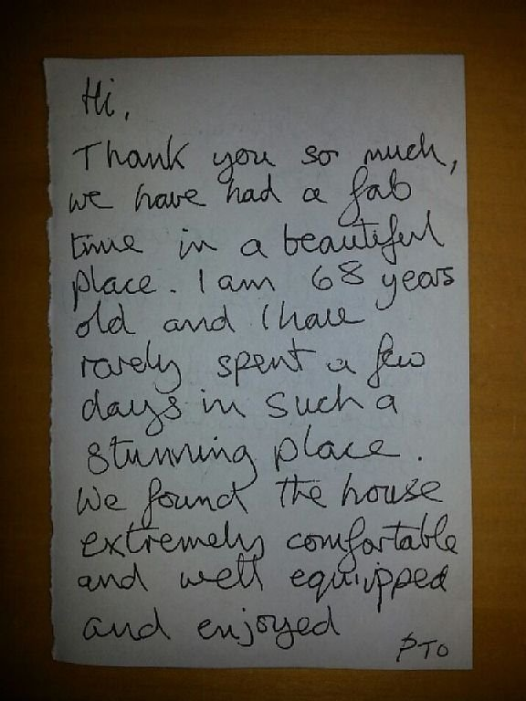 A nice note left buy a guest